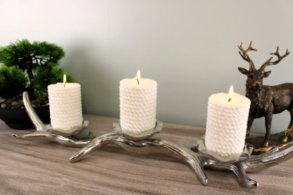 3 Piece Silver Metal Antler Candle Holder