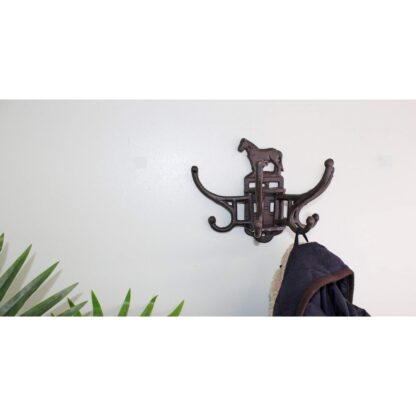 Cast Iron Wall Mounted Rotating Coat Hooks, Horse, 8 hooks