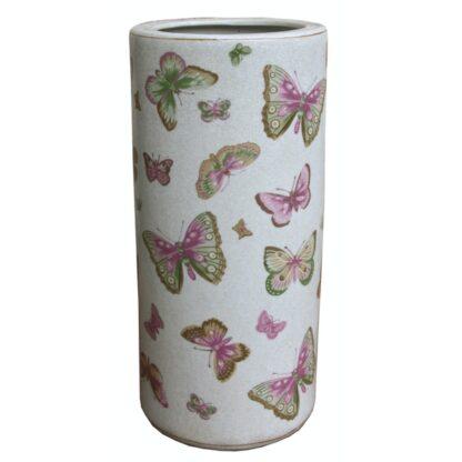 Ceramic Umbrella Stand, Butterfly Design