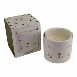 Fragranced Candle in Ceramic Cat Pot, Fresh Linen