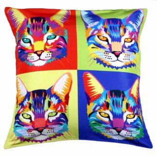 Printed Pop Art Cushion Cover -Cat