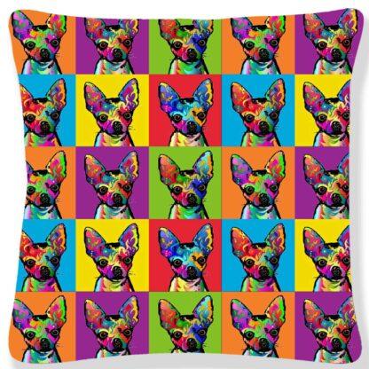 Printed Pop Art Cushion Cover -Chihuahua