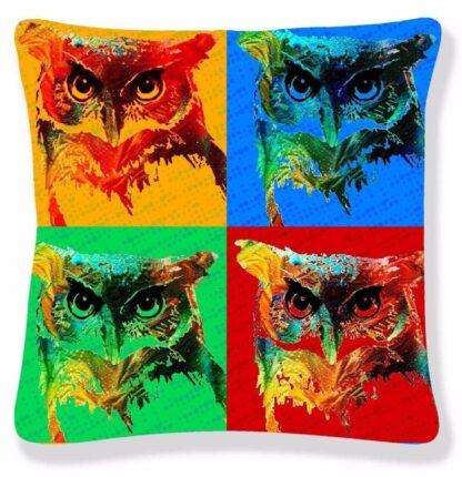 Printed Pop Art Cushion Cover - Ugly Big Eye OWL