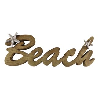 Wooden Beach Decoration With Silver Starfish